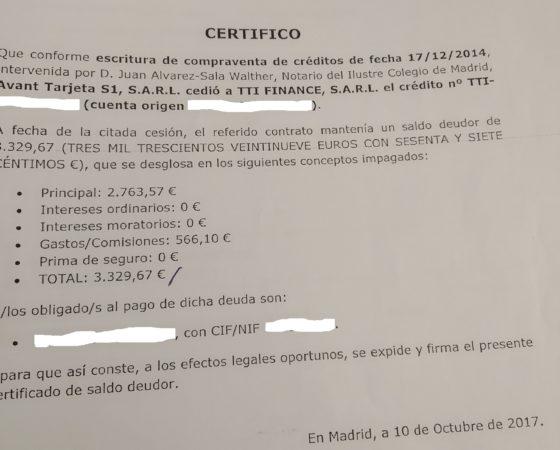 INADMISIÓN DE DEMANDA DE TTI FINANCE POR FALTA DE PRUEBA
